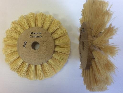 Ersatzbürste (benötigt wird 1 Paar), Nylon 0,4 mm, natur, 110 x 25 mm weich, Holzkern 55 mm
